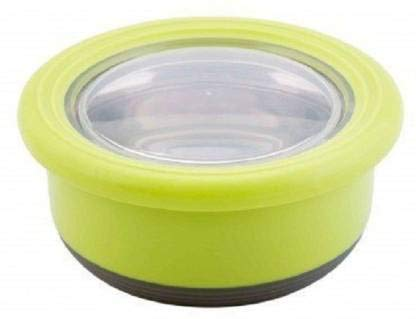 Hn'K Tedemei Food Storage Container/Lunch Box(Round)(420ML)(Green)| Steel Lunch Box with Anti Slip Base