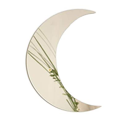 Crescent Moon Mirror - Wall Decor Chic Boho Aesthetic for Urban Living Room Apartment Bedroom Home Decorative Silver or Gold - 13.25inch x 9.5inch