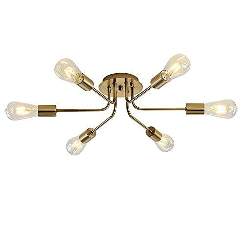 Linckry Lámpara De Techo De Bronce Frotado Con Aceite De 6 Luces Sputnik, Lámpara Colgante De Interior Moderna, Accesorio De Iluminación De Techo De Montaje Semi Empotrado Para Cocina, Comedor, Sala D