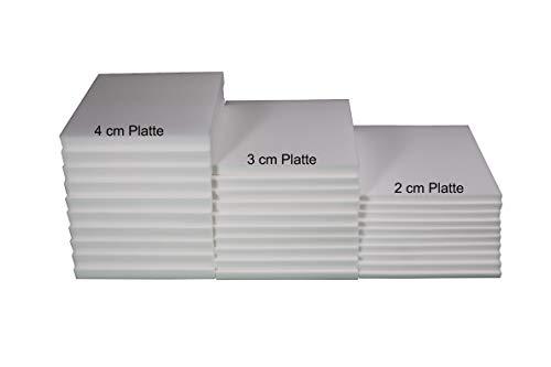 Prosanvita Stuhlkissen Schaumstoff-Zuschnitt 40x40 2 cm Höhe, für Sitzbank-, Stuhl-Auflage, Sitzkissen, Polster, Farbe weiß RG 4060