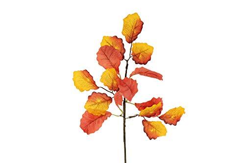 STEFANAZZI 6 Zweige 42 cm Zweig Dekorationen künstliche Eiche Blätter Herbstblätter Herbstblätter Herbstzweige Kürbisse realistische Schaufensterdekoration