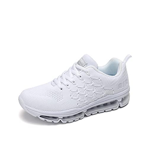Zapatillas Running Hombre Mujer Deportivas Air Zapatos Deportivos Transpirables Sneakers Calzado Deporte Correr Gimnasio Aire Libre Tenis Asfalto Negro Blanco 877Blanco 39