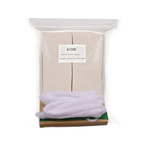 Japanese Organic Cotton 60 pcs with Va pefly Organic Shoelace Cotton Coil -5FT(1.5M)