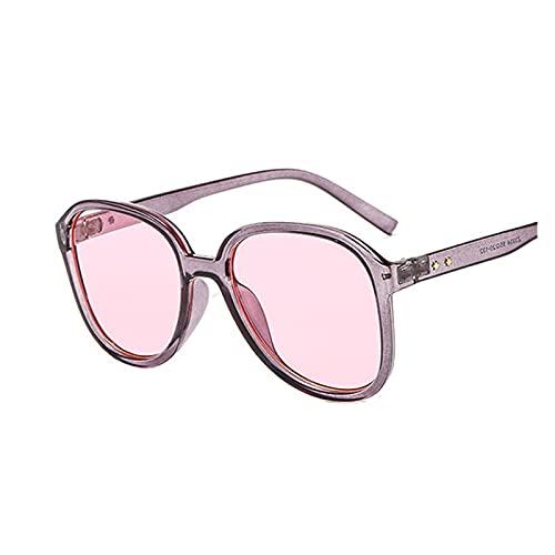 Gafas de Sol Redondo Mujeres Gafas de Sol Mujer Eyewear Eyeaglasses Marco de plástico Lente Transparente UV400 Shade Fashion Driving Nuevo (Lenses Color : Gray Pink)