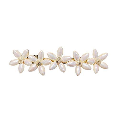 EWFD Horquilla de Perlas de imitación de Temperamento Serie Sen Flor Clip de Palabra Clip Superior Clip de Flequillo Clip de Resorte Horquilla para Mujer