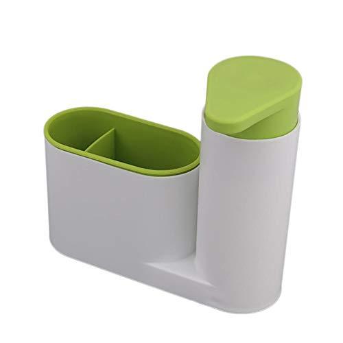 """Keuken Zeepdispenser Met Sponshouder Vloeibaar Wasmiddel Container Doseer Voor Keuken, Huis, Kantoorgebouw, 7 * 6.3 * 2.4 """"-groen"""