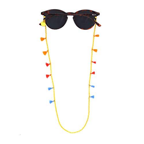 Hook 3090 Schouderband voor dames – koord voor zonnebrillen of brillen – goudkleurige ketting en mini-pompons – 60 cm lang 0,3 cm breed – hoogwaardige universele rubbers