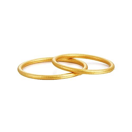 KnBoB 18K Gelbgold Damen Herren Ringe Elegant Mattiert Design Hochzeit Ringe Damen Gr.61 (19.4) & Herren Gr.67 (21.3)