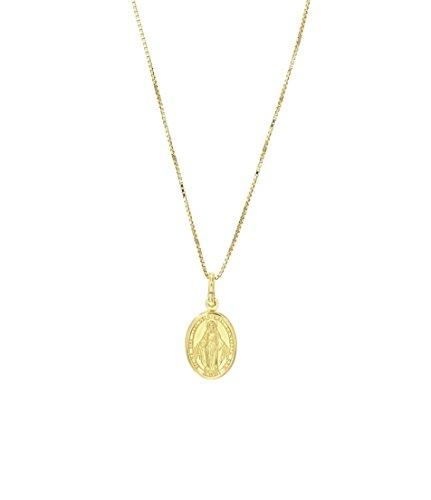 Padre Nostro Collar Medalla de la Virgen Milagrosa en Plata de Ley 925 Collares Hombre Mujer Madonnina (Plata 925 Chapado en Oro Amarillo)