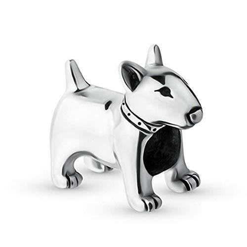 Bolenvi Abalorio de plata de ley 925 con diseño de Bulldog inglés en miniatura para pulseras o collares similares