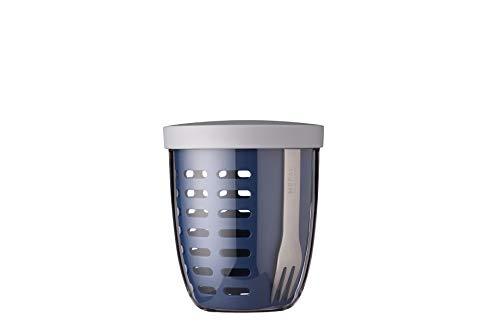 Mepal Fruitpot Ellipse Nordic Denim – 600 ml Inhalt – ideal für Früchte, Obst und Gemüse unterwegs-mit Abtropfsieb und Gabel – spülmaschinenfest, pp/pctg, 107 mm