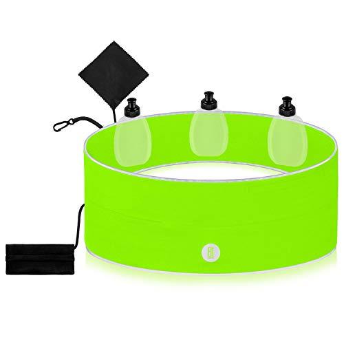FitFeelsFun® Laufgürtel mit 3 Trinkflaschen inklusive - mit wasserdichtem Innenfach und Geldtasche - Handy-Tasche Sport - Trinkgürtel Bauch-Tasche Joggen Fitness