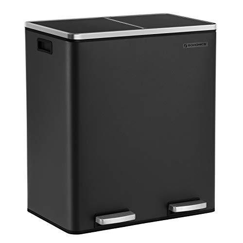SONGMICS Dual Trash Garbage Can, 16 Gal (60L) Rubbish Bin, Metal Step Bin, with Dual Compartments, Plastic Inner Buckets and Hinged Lids, Handles, Soft Closure, Airtight, Black ULTB60BK