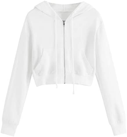 COOKI Crop Hoodies Women s Basic Zip Up Pullover Hoodies Long Sleeve Cropped Sweatshirts Teen product image