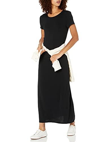 Amazon Essentials - Vestido largo de manga corta para mujer, Negro, US XS (EU XS)