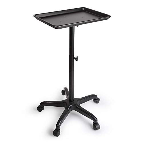 Hairdressing Salon Trolley Hairdressing Trolley, Hairdressing Tool Trolley, Lifting Barber Shop Aluminum Alloy Tool Rack Trolley for Beauty Make-up (Color : Black, Size : 45x33x(70-110) cm)