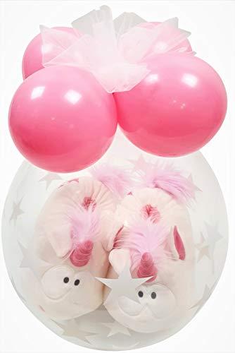 Qualatex Hausschuhe NICI Eisbär im Ballon Geschenk Weihnachten Geburtstag Luftballonverpackung, Größe 38-41 (Eisbär Bignic)