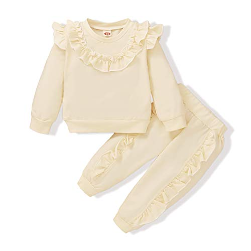 Toddler Girl Clothes Fall Long Sleeve Sweater Top+Long Ruffle Pants+Bow Knot 3pc Baby Fall Outfit for 9-12 Months White