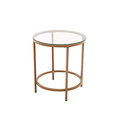 PALDIN Vintage Coffee Table Gold Finish Frame Round Glass Top Side Table Living Room (50CM)