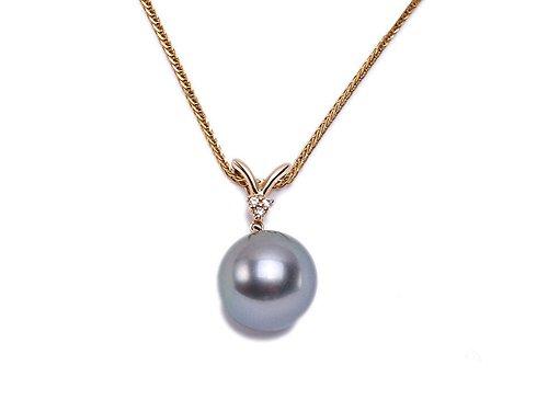 jyx 10.5 mm schwarz Tahiti-Perle Anhänger mit 14 K Bail mit Diamanten