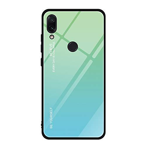 Alsoar Funda Compatible/Reemplazo para Xiaomi Redmi Note 7 Cubiertas Vidrio Templado Cubierta Trasera Gradiente Color + Suave Silicona Borde de TPU Bumper Protectora Carcasas Case (Verde)