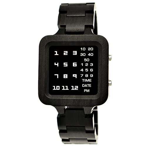 Holzwerk Germany® Matrix - Reloj digital LED para hombre (mecanismo de cuarzo, ecológico), color marrón y negro
