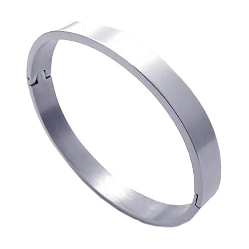 SODIAL pulsera de joyeria de hombres y mujeres, brazalete de acero inoxidable, plata