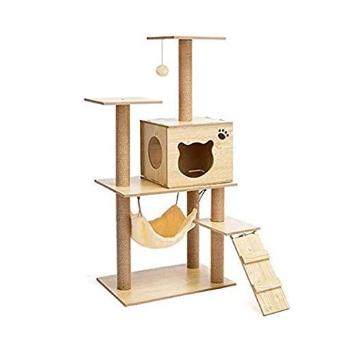 Árbol de gato equipado con espaciosas perchas y condominios de peluche Gatito de múltiples niveles Torre de actividad con rasguños Posts&Cesta Tumbona Cat Multifuncional Apartamento de madera maciza