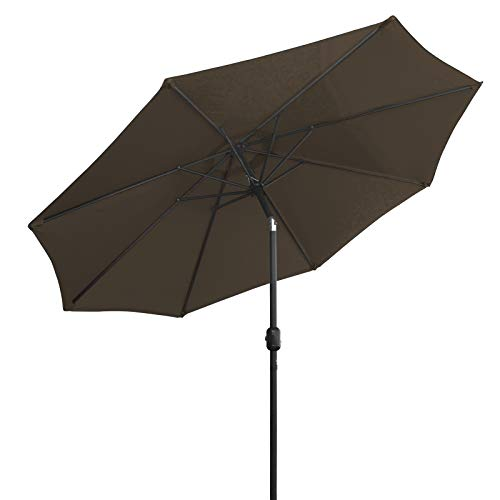 LOVE STORY Sombrilla Ø2.7M, Parasol abatible de 9 pies, Adecuado para balcón, terraza, Patio Trasero UV50 +, marrón