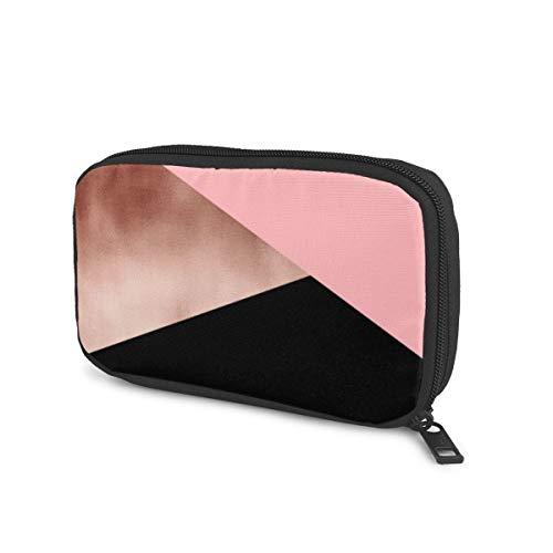 Aufbewahrungstasche für U-Disk-Headset, USB-Stick, Kabel, Ladegerät, elegant, modern, künstliches Roségold, Pink