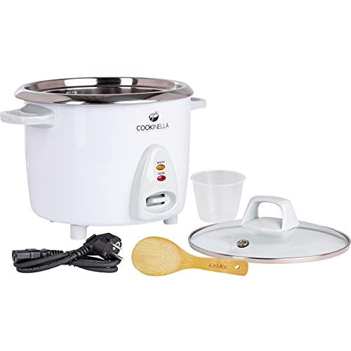 KeMar Kitchenware Cookinella KRC-200 Reiskocher Edelstahltopf | Kompakt (1,4L, 500W, Weiß) | Glasdeckel | Bambuslöffel