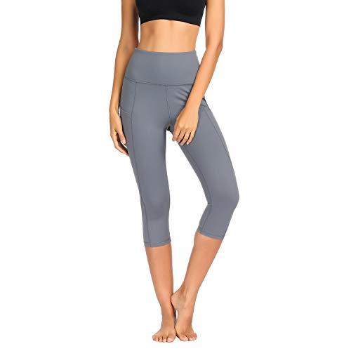 Damen Leggings Yogahosen Sporthose Tights Laufhose High Waist mit Taschen Dehnbar Jogginghose Yoga Sport Fitness Laufen(Grau-qf.L)
