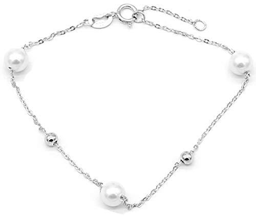 Dielay Women's 925 Sterling Silver Bead Bracelet Adjustable Length 17-19cm
