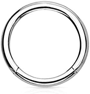 14G-18G Surgical Steel Hinged Easy Use Seamless Hoop Body Piercing Ring (Sold Individually)