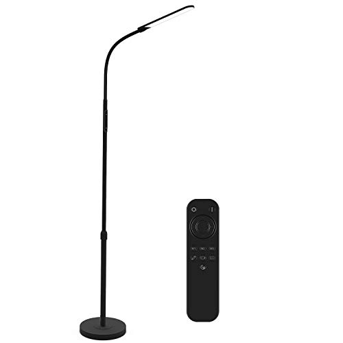 NXONE Led Floor Lamp,Modern Reading Adjustable Standing Height 4 Colors and Stepless Brightness Work Lamp for Living Room Bedroom Reading,Black