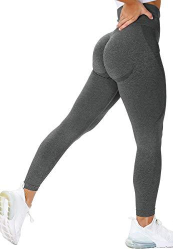STARBILD Leggins Sportivi da Donna Pantaloni Seamless Push Up Sexy Booty Scrunch Vita Alta Elastico Leggings da Allenamento Calzamaglie per Yoga Palestra Fitness, B-Grigio Scuro M