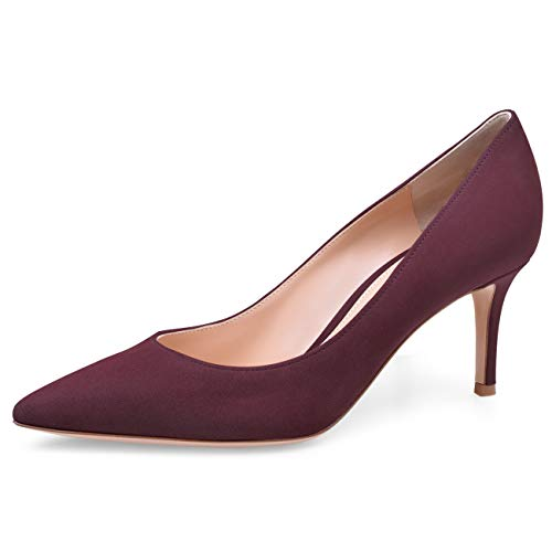 JiaBinji Mujeres Bombas Stiletto Tacón Alto Puntera Zapatos de Boda 6.5cm Tacón Zapatos Gamuza 35 Vino Tinto