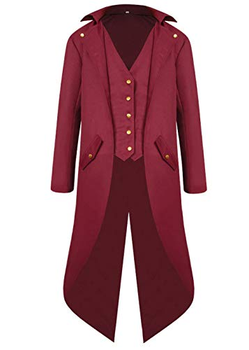 Mens Gothic Medieval Tailcoat Jacket, Steampunk Vintage Victorian Frock High Collar Coat (S, Wine Red)