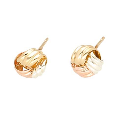 Pendientes de tuerca de oro amarillo, blanco y rosa de 9 quilates para mujer (8 x 7 mm)   El regalo perfecto para una dama especial   Jollys Jewellers