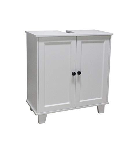 Armario para debajo del lavabo (2 puertas, con estante ajustable, madera, 60 x 30 x 65 cm), color blanco