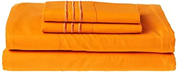 Celine Linen Best Softest Coziest Bed Sheets Ever! 1800 Thread Count Egyptian Quality Wrinkle-Resistant 4-Piece Sheet Set with Deep Pockets 100%  Queen Vibrant Orange