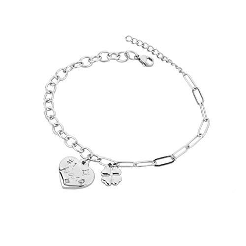 MiniJewelry Pulsera con colgante de corazón para abuela, número 1, diseño de trébol de cuatro hojas, regalo para cumpleaños de mujer