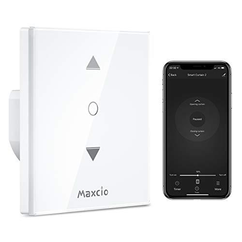 【4 Generación】Interruptor Persiana WiFi, Maxcio Interruptor Control por Porcentaje de APP y Voz, Interruptor con Cerradura de Seguridad para Motor Persiana Tubular