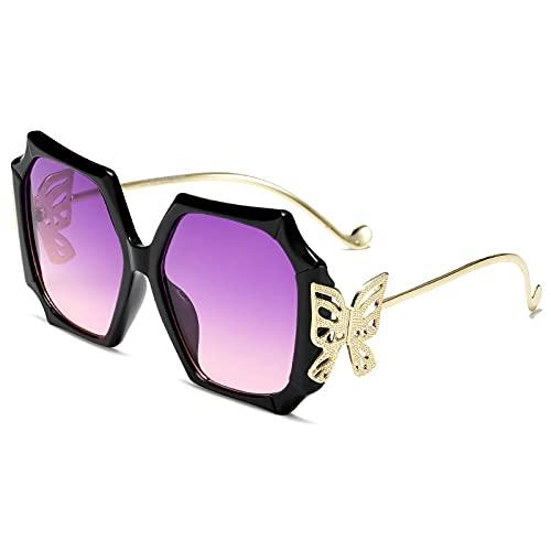 Gafas De Sol Gafas De Sol Cuadradas Mujer Pierna Metálica Mariposa Gafas De Sol Visera Vintage Gafas De Sol Hombre Sombras Gradiente Uv400 C1Negro-Púrpura