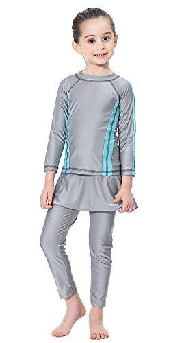 TianMai Mädchen Kinder Muslimische Bademode Islamische Schwimmanzug Badeanzug Burkini Muslim Swimwear (Grau, 110cm)