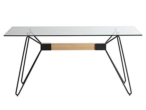 DLM Design Table de Salle à Manger rectangulaire en Verre/Bois/métal L160cm Nicolas