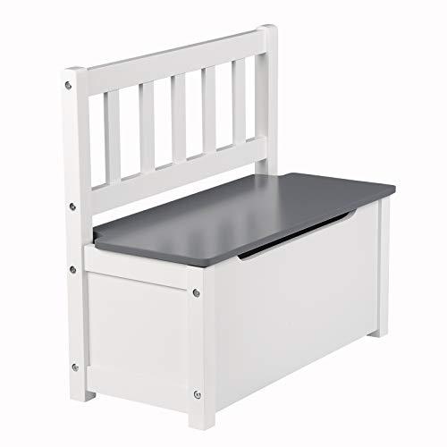 WOLTU SPK001 Kindersitzbank mit Stauraum, Spielzeugkiste zum Sitz und Aufbewahrung Truhenbank, 58x26x53cm, passend zu Sitzgruppe, Weiß+Grau