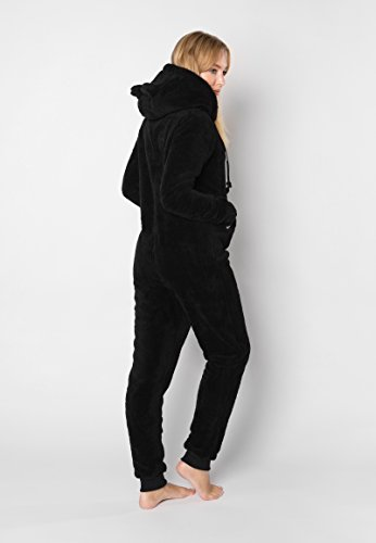 Eight2Nine Damen Jumpsuit aus kuscheligem Teddy Fleece | Overall | Ganzkörperanzug mit Ohren black1 S/M - 5