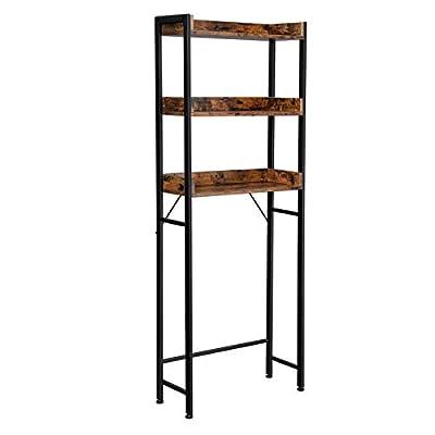 VASAGLE ALINRU 3-Tier Over-The-Toilet Rack, Tall Bathroom Storage Shelf, Space-Saving, Stable, Industrial Style, Rustic Brown and Black UBTS002B01