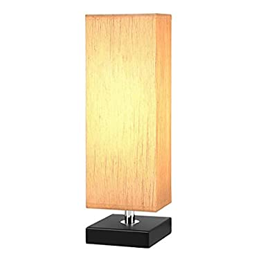 Aooshine Bedside Table Lamp, Minimalist Solid Wood Table Lamp Bedside Desk Lamp With Square Flaxen Fabric Shade for Bedroom, Dresser, Living Room, Kids Room, College Dorm, Coffee Table, Bookcase